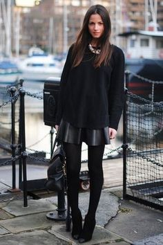 Black over-sized knit sweater + leather flare skirt + black hoisery & booties