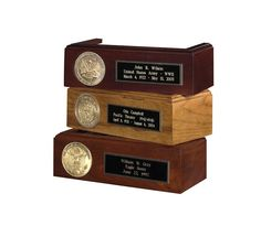 Urns Northwest  - Flag Case Display Pedestal, $99.00 (http://urnsnw.com/flag-case-display-pedestal/). Display stands for our burial flag display cases. Military service medallion of your branch, plus free personalization. Made in USA.