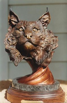 Solitude - Canadian Lynx Bronze Sculptureby Karl Lansing 2