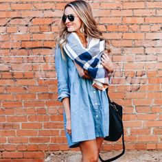 Denim dress + plaid scarf.