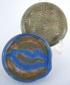 2 Wheel Thrown Stoneware Pottery SM Spoon Rest Tea Bag Holder Green Blue Tan | eBay