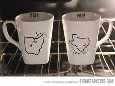 Long distance mugs… Great idea to send matt for valentines day <3
