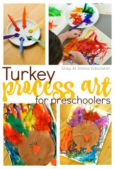 Turkey Process Art for Preschoolers - This process art activity uses paint and feathers to make a turkey craft, perfect Thanksgiving activity for the kids!