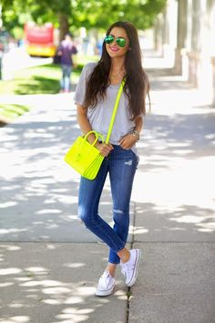 iMyne Fashion: Zappos Appreciation   Pink Peonies with Rach. White converse. Street fashion. Outfit idea. With converse. neon purse. how to wear converse. neon.