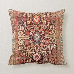 Shop Perepedil Kuba East Caucasus Rug Print Throw Pillow created by bohemiancollection. Kilim Pillows, Throw Pillows, Custom Pillows, Persian Rug, Bohemian Rug, Art Pieces, Carpet, Antiques, 19th Century