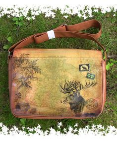 Vegan leather Moose Large Messenger/Laptop Bag - LAVISHY Boutique--O Canada collection . Great gift for Canada outing party