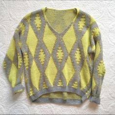 Boutique Yellow and Gray Sweater Boutique sweater - looks brand new. Great gold detailing and  + Size: S/M + Preloved, excellent condition None Sweaters Crew & Scoop Necks