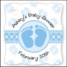 Baby Feet Blue - 20 Personalized Baby Shower Die-Cut Card Stock Tags $5.99
