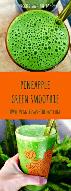 It's easy to sneak greens into your diet by including them in delicious fruity smoothies like this Pineapple Green Smoothie. Get the recipe and more like this at www.veggiessavetheday.com, or pin it and save for later!