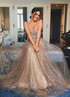 sexy champagne sparkly sequins long prom dresses #champagnepromdresses #longpromdresses #dressesforwomen #2019promdresses #dressesforwomen