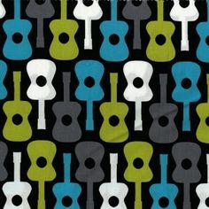 Michael Miller - Groovy Guitars Lagoon - cotton fabric