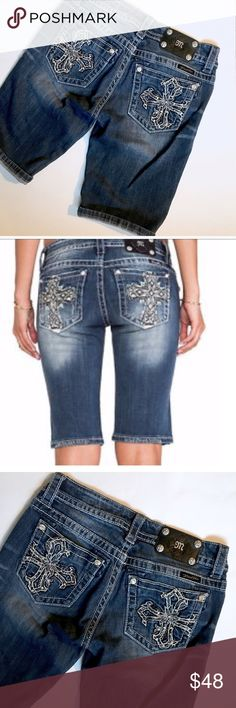 """Miss Me Jeans Bermuda shorts Excellent condition, like new. No flaws or signs of wear. 12 1/4 inseam, 7.5"""" rise. 28"""" waist. Dark wash with nice distressing. Cross pack pockets. Swarovski crystals in place of rivets. Add this to a bundle to save 15%. Miss Me Shorts Jean Shorts"""