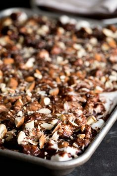 Rocky Road Chocolate Sheet Cake - the perfect dessert for potlucks and picnics!