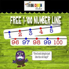 "FREE printable 1-100 number line A simple number line to display in the classroom or use with number sense math lessons. Please make sure that you have 8.5""x14"" paper or set..."