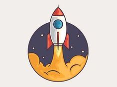 Rocket designed by Graphicsoulz. Connect with them on Dribbble; the global community for designers and creative professionals. Rocket Drawing, Ship Drawing, Rocket Tattoo, Rocket Design, Space Illustration, Doodles, Bild Tattoos, Doodle Art, Painted Rocks