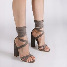 3ab67ec23e4 Vera Lace Up Heels in Grey Faux Suede