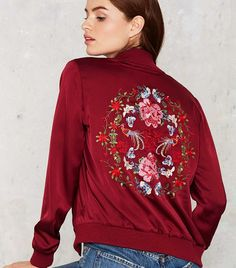 Trend Report: Embroidered Bomber Jackets via @WhoWhatWear
