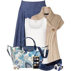 Blue, Tan, and White Floral Bag, created by chrissykp on Polyvore