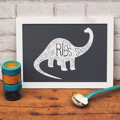 Funny Dinosaur Print  Diplodocus Butcher's by WeArePaperPlane