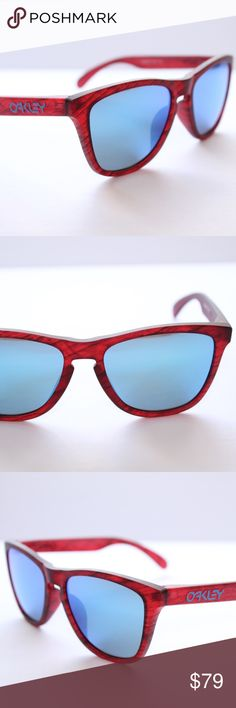 Oakley Sunglasses Frogskins Red Woodgrain w/Sapphi New Oakley Sunglasses Frogskins Red Woodgrain w/Sapphire #9245-5654 Asian In Box. Condition is New with tags. Oakley Accessories Sunglasses