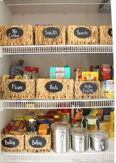 These best kitchen pantry organization ideas are so satisfying. Get inspired for spring cleaning with these perfectly organized kitchen pantry photos, using baskets, bins, racks, and more! Pantry Organisation, Kitchen Organization, Organization Hacks, Kitchen Storage, Organized Pantry, Pantry Storage, Organizing Ideas, Roommate Organization, Food Storage