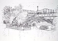 Pen and ink sketch showing the river taxi after loading passengers for a tour of the river. Their is an old stone bridge next to a newer, more