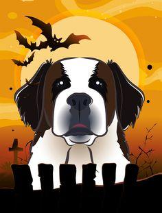 Caroline's Treasures Halloween Saint Bernard by Denny Knight Graphic Art Plaque Size: White Pug, Red Dachshund, Outdoor Flags, Fox Terrier, Flag Decor, Black Labrador, House Flags, Jack Russell Terrier, Print Artist