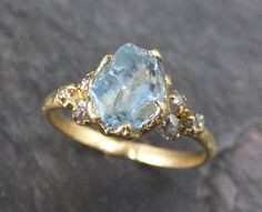 Raw Uncut Aquamarine Diamond Gold Engagement Ring Wedding 18k Custom One Of A Kind Gemstone Bespoke Three Stone