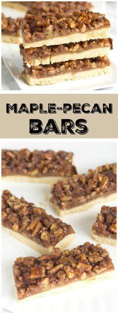 Maple- Pecan Bars Recipe - from RecipeGirl.com