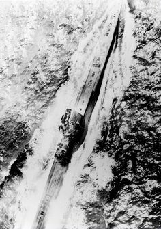 The last picture of U-534 taken by the crew of the American Liberator aircraft that shot her down and sunk her.