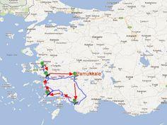 mapa con ruta circular por Turquía