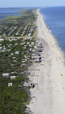 An aerial view of Davis Park on Fire Island