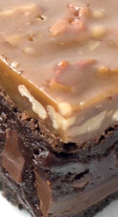 Triple-layer Fudgy Caramel Pecan Turtle Brownies - a dense, fudgy brownie on top of an Oreo cookie crust topped with a chewy caramel and pecan topping. Brownie Recipes, Chocolate Recipes, Cookie Recipes, Pecan Recipes, Chocolate Caramels, Rib Recipes, Bread Recipes, Soup Recipes, Recipies