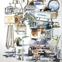 Hope I'll draw like this one day but without education base it's hard enough and I'll keep on trying. Drawing Interior, Interior Design Sketches, Industrial Design Sketch, Interior Rendering, Sketch Design, Pink Drawing, Drawing Furniture, Beautiful Sketches, Watercolor Sketch