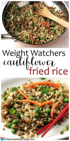 Weight Watchers Cauliflower Fried Rice is a delicious faux fried rice recipe that is easy and delicious. This zero freestyle smartpoint Weight Watchers recipe will please everyone in the family. #weightwatchers #ww #weightwatchersrecipes Weight Watcher Vegetable Recipes, Healthy Vegetable Recipes, Weight Watchers Chicken, Weight Watchers Meals, Easy Healthy Recipes, Easy Meals, Healthy Meals, Cauliflower Fried Rice, Cauliflower Recipes