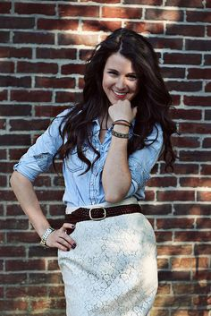 I love the way she makes this lace skirt casual with chambray & a brown belt.