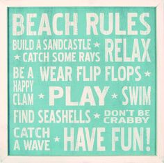 """Country Marketplace - Vintage #Beach Rules Wood Sign 18"""" x 18"""" (http://www.countrymarketplaces.com/vintage-beach-rules-wood-sign-18-x-18/)"""