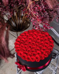 If you're staying in this Valentine's Day, there's no better way to create ambiance than with an oversized arrangement in classic red and black. Get yours now! Million Roses, Black And Red Roses, Preserved Roses, The Millions, Black Box, Classic Collection, Black Women Hairstyles, Raspberry, Valentines