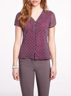 Printed short sleeve blouse - Petites | Petites| Shop Online at Reitmans $36.00