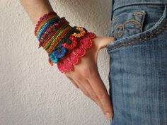 crochet beaded cuffs | ... crochet cuff flowers magenta orange red indigo green beaded beadwork $