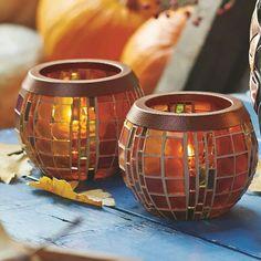 Mosaik in traumhaften Herbsttönen:   Teelichthalter HERBSTLICHTER  www.stefanbraun.partylite.de