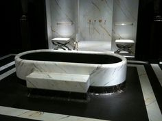 Black and white marble bathroom at the AD Interieurs Artcural showcase designed by Joseph Dirand Black Marble Tile, Black Marble Bathroom, Marble Bathtub, Black And White Marble, Showcase Design, Cabinet, The Originals, Furniture, Joseph Dirand