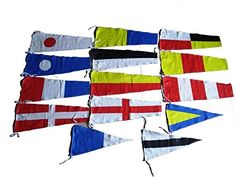 Marine Products Maritime Signal Code Flag Set - 100% Cotton -Set Of Total 14 Flags - Both Sided:   100% cotton - naval signal flag set - set of total 14 flags - each flag size: 1 to 9 + answer: approx 20 inches x approx 8.5 inches 1st, 2nd and 3rd: approx 15 inches x approx 8 inches - 100% cotton. - All are individual flags - Not single rope - Thanks and have a nice day