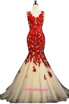 Sexy Mermaid Evening Dress,Scoop Organza Evening Dress,Applique Pleats Lace Evening Gown,Beads Hollow Sweep Train Red Prom Dresses,See Though Prom Dress