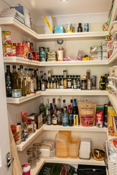 A walk-in pantry that's neat and tidy and organised for a multi-functional kitchen.