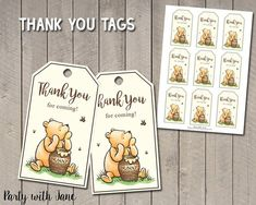 Classic Winnie The Pooh Thank You Tags, Favor Tags, Party Decor, Birthday Decoration, Printable, Vin