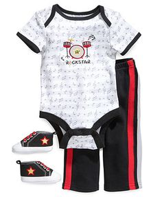 Cutie Pie Baby Set, Baby Boys 3-Piece Hanger Set with Bodysuit, Pants and Shoes