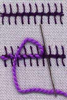 a step by step illustration of how to work barb stitch