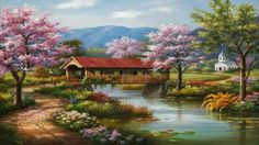 Sung Kim, Covered Bridge in Spring (28 pieces)
