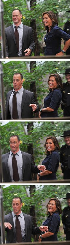 CHRISTOPHER MELONI & MARISKA HARGITAY (Goofing around on the set of Law & Order: SVU)